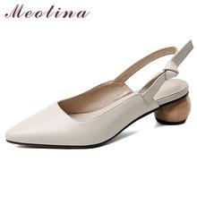Meotina High Heels Women Slingbacks Shoes Natural Genuine Le
