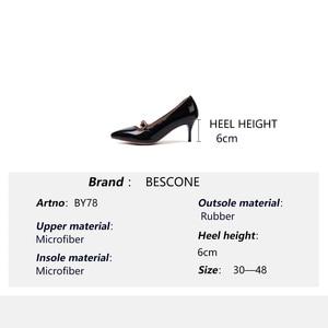 Image 5 - BESCONE moda kadın pompaları el yapımı sığ toka ince topuk ayakkabı yeni temel seksi sivri burun elbise yüksek topuk bayan pompaları BM78