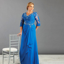 Groom Mother-Of-The-Bride-Dresses Chiffon Royal-Blue Long Plus-Size 3/4-Sleeves V-Neck