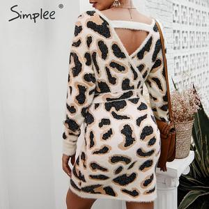 Image 3 - Simplee Vrouwen luipaard gebreide jurk Lange mouwen v hals bodycon trui jurk Streetwear kantoor dame riem herfst winter jurk