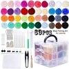 24 Colors Wool DIY Wool Felt Kit Wool Felt Toys Materials Felt Needle For Beginners