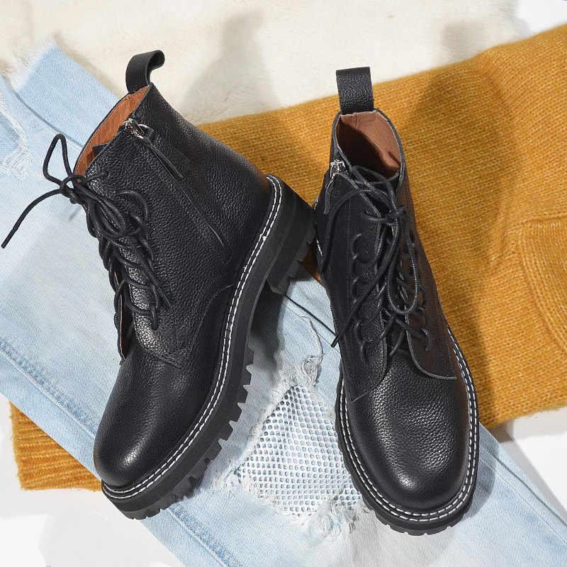 Donna-in sonbahar kadın çizmeler ile kalın alt siyah ayak bileği bağcığı çizmeler kadın hakiki deri şık Zip platform ayakkabılar kadın