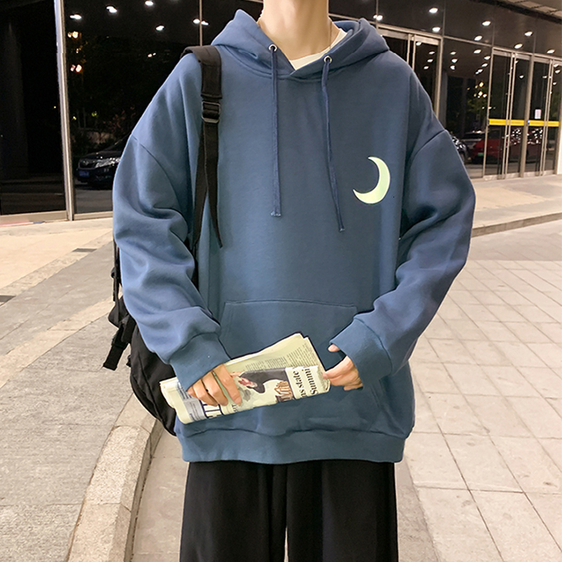 Privathinker Hip Hop Men's Reflective Moon Hoodies Autumn Warm Men Casual Hooded Pullovers 2020 Man Oversized Sweatshirts Tops