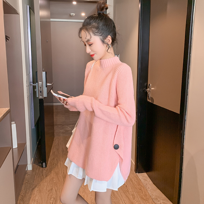 New Autumn Winter Fashion Knitted Patchwork Maternity Sweaters A Line Shirt Clothes for Pregnant Women Pregnancy Tops