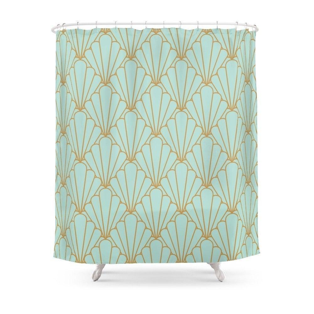 art deco series mint green shower curtain mat polyester fabric bathroom home decoration waterproof print shower curtains