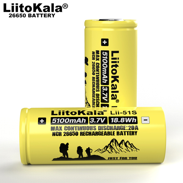 1-10PCS Liitokala LII-51S 26650 20A Power Rechargeable Lithium Battery 26650A , 3.7V 5100mA .  Suitable for Flashlight 2