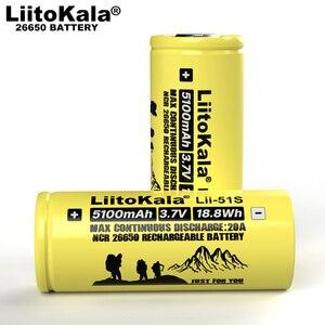 Image 2 - 1 10 個 liitokala LII 51S 26650 20A 電源充電式リチウムバッテリー 26650A 、 3.7 v 5100mA。適切な懐中電灯