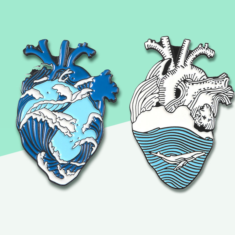 Ukiyo Painting Ocean Wave Pins Cardiac Anatomical Heart Badge Fresh Artistic Brooch Backpack Denim Clothes Accessories Jewelry