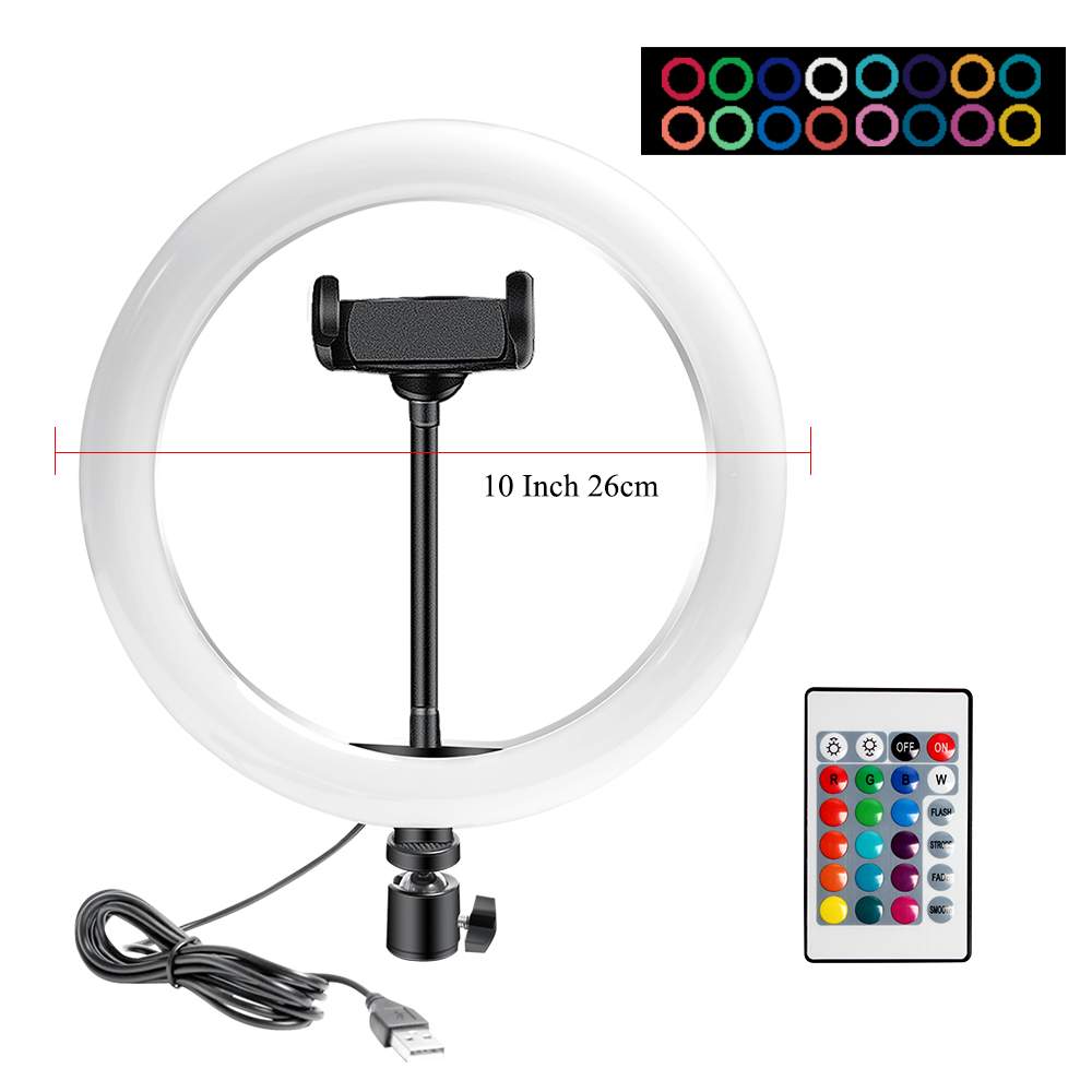 H1424050f5ec74ee5bec9d49f90ef19e8j 10 Inch Rgb Video Light 16Colors Rgb Ring Lamp For Phone with Remote Camera Studio Large Light Led USB Ring 26cm for Youtuber