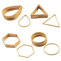 10 Uds. De pendientes en forma de lágrima de conectores chapados en oro y acero inoxidable, abalorios rectangulares de anillo circular, Diy para fabricación de joyas