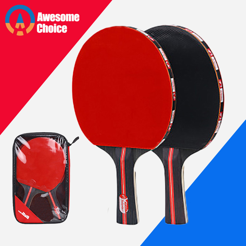 Quality 2pcs/lot Table Tennis Bat Racket Double Face Pimples In Long Short Handle Ping Pong Paddle Racket Set With Bag