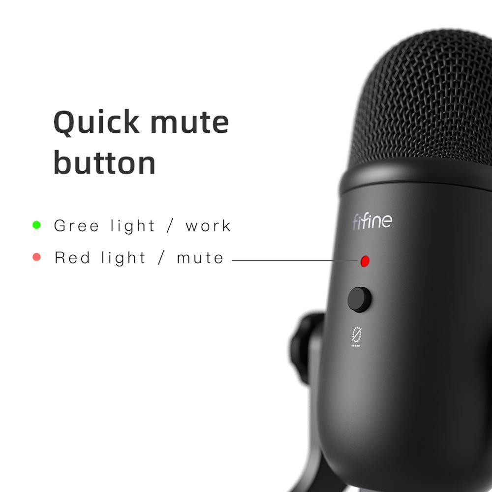Microphone USB FIFINE pour enregistrement/Streaming/jeu, microphone professionnel pour PC & Mac, sortie casque micro & Control-K678 de Volume - 2