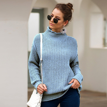 Ladies Fashion Casual High Collar Full Sleeve Knitted Sweater Autumn Winter Warm Thick Pullover Turtleneck Tops 2020 Robe Femme rohopo semi high collar puff long sleeve pullover sweater vertival ribbed elasticity waistband knitted thick tops 2314