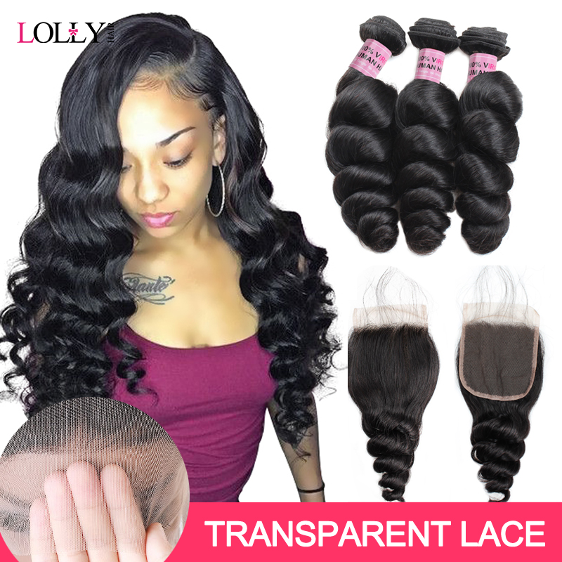 Transparent Closure With Bundles Loose Wave Bundles With Closure Brazilian Hair Weave Bundles With Closure Non-Remy LollyHair