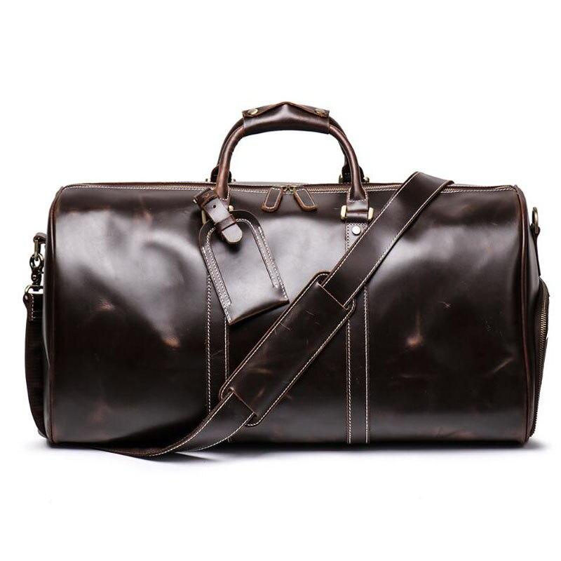 100% de cuero genuino bolsos de viaje de calidad para hombre equipaje de lona de gran capacidad con correa de hombro bolso de cuero de Caballo Loco - 2