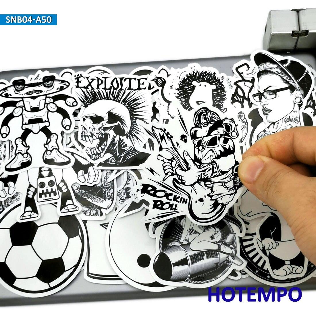 50pcs Graffiti Mix Funny Fashion Black And White Stickers For Mobile Phone Laptop Luggage Skateboard Bike Car Art Style Stickers