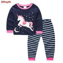 Пижама с единорогом Рождественская Пижама для девочек, детская пижама с рисунком динозавра, комплект одежды для сна для маленьких девочек