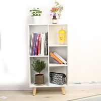 92*50*25CM Anmas home White 3 Tier Bookshelf Bookcase Display Unit Divider Storage 5 Cube Shelf Casef for book toy Showcase
