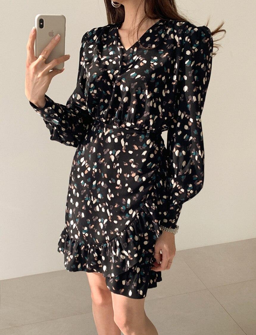 H142491e5800b42aca38df1da937c850ag - Autumn V-neck Long Sleeves Floral Print Flounced Mini Dress
