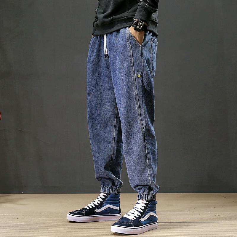 Japanese Style Fashion Men Jeans Black Blue Gray Color Loose Fit Cargo Pants Harem Jeans Size S-5XL Hip Hop Jeans Men Joggers