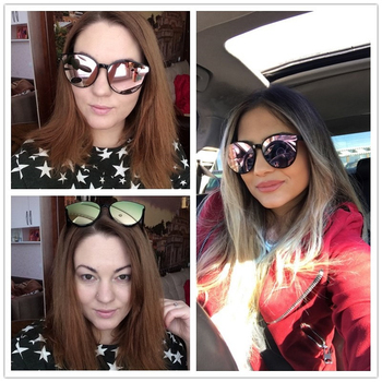 LONSY Retro Cat Eye Sunglasses Women Luxury Coating Mirror Sun Glasses Female Vintage Glasses Oversized Women Oculos De Sol