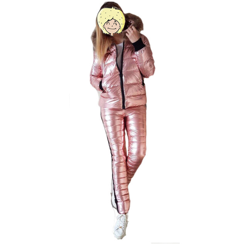 2019 Snow Skiing Jacket+Pants Shiny Leather Women Ski Suit Winter Thick Fur Hooded Jacket Outdoor Winter Thick Warm Ski Clothes