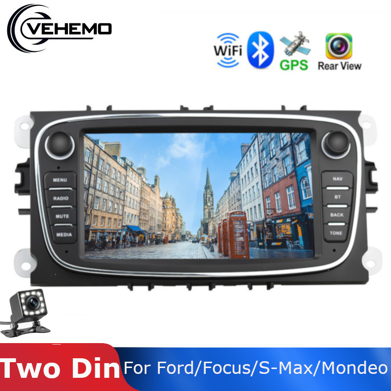 Vehemo Car Multimedia player Android 8.1 <font><b>GPS</b></font> Car Radios 2 Din 7'' Audio DVD Player For <font><b>Ford</b></font>/Focus/S-Max/<font><b>Mondeo</b></font> 9/GalaxyC-Max image