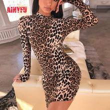 Ainyfu Streetwear Long Sleeve O-Neck Leopard Print Femme Dresses Sexy Bodycon Mini Dress Ladies Autumn Winter Women Clothing