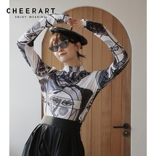 Cheerart Arts Print Turtleneck Blouse Women Long Sleeve Vintage Top Elastic Tunic Tops And Blouses Clothing Fall 2019