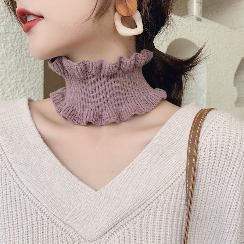 New Fungus Collar Solid Color Long Girl Woman Scarf Lady Autumn Winter Korean Version Double-knit Wool Sweater Head Warm Scarf