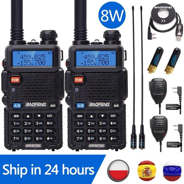 2 adet Baofeng UV 5R 8W Walkie Talkie UV5R CB radyo istasyonu 10KM VHF UHF Dual Band UV 5R iki yönlü telsiz avcılık için Ham radyolar