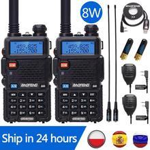 2個baofeng UV 5R 8ワットトランシーバーUV5R cbラジオ局10キロvhf uhfデュアルバンドuv 5R双方向ラジオ狩猟ハムラジオ