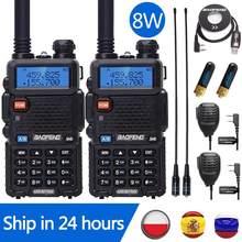 2 pçs baofeng UV-5R 8w walkie talkie uv5r cb estação de rádio 10km vhf uhf dupla banda uv 5r rádio em dois sentidos para a caça rádios de presunto