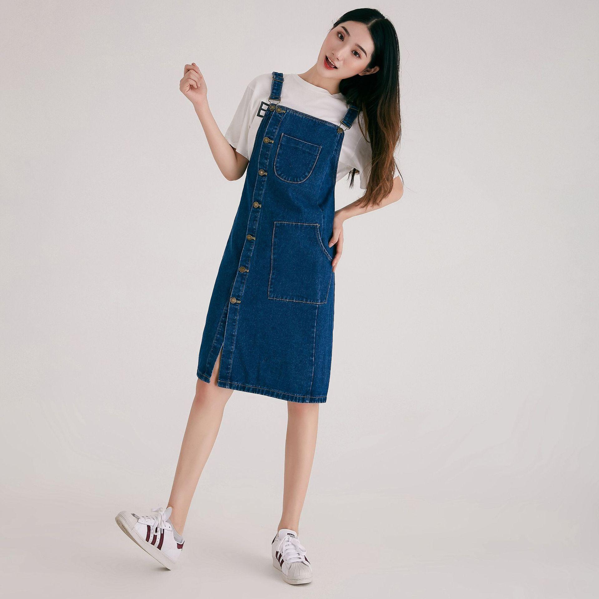 Large Size WOMEN'S Suspender Skirt 2019 Autumn Clothing New Style Deep Blue Korean-style Skirt Computer Cable Lock University St