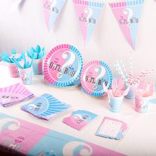 Gender Reveal Disposable Tableware Baby Shower Party Girl Or Boy Plate Cup Napkin Tablecloth Knife Fork Spoon Party Supplies Set(China)
