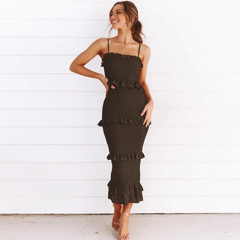 NEDEINS Summer Fashion Sling Long Dress Women 2020 Casual Party Dress Female Ruffles Vestidos Plus Size