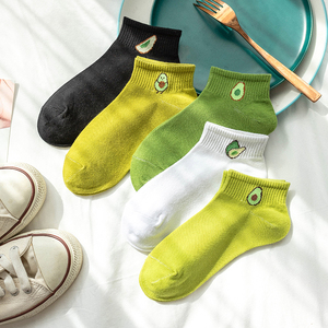 Women Solid Avocado Embroidery Socks Casual Joker Cotton Short Socks For Ladies Concise College Style Breathable Sox Trendy New