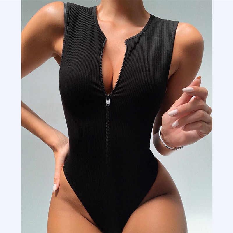 Darlingaga fermuar sıska tankı seksi Bodysuit kadın moda Bodycon vücut temel üst kolsuz yaz Bodysuits tulum tek parça