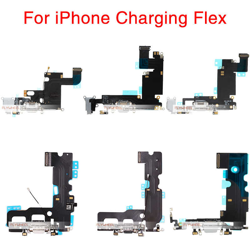 7 1pcs Para iPhone 6G 6S 8 Plus X Carregador De Carregamento Porta USB Dock Connector Flex Cable com Microfone E Fone De Ouvido Jack De Áudio