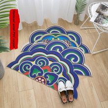 Green plant fruit semicircle entrance hall carpet PVC wire loop mat INS Door mat Living room floor mat bathroom non-slip rug pebble series flannel printing home anti slip absorbent entry mat bathroom mat door mat bedside mat