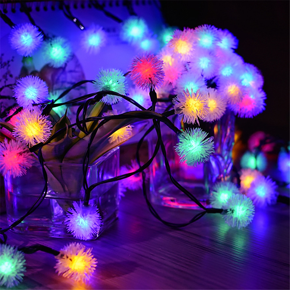 Fluffy Ball LED Snowflake String Battery Powered Outdoor Garden Indoor Room Fairy Decorative Lights For Christmas New Year Party