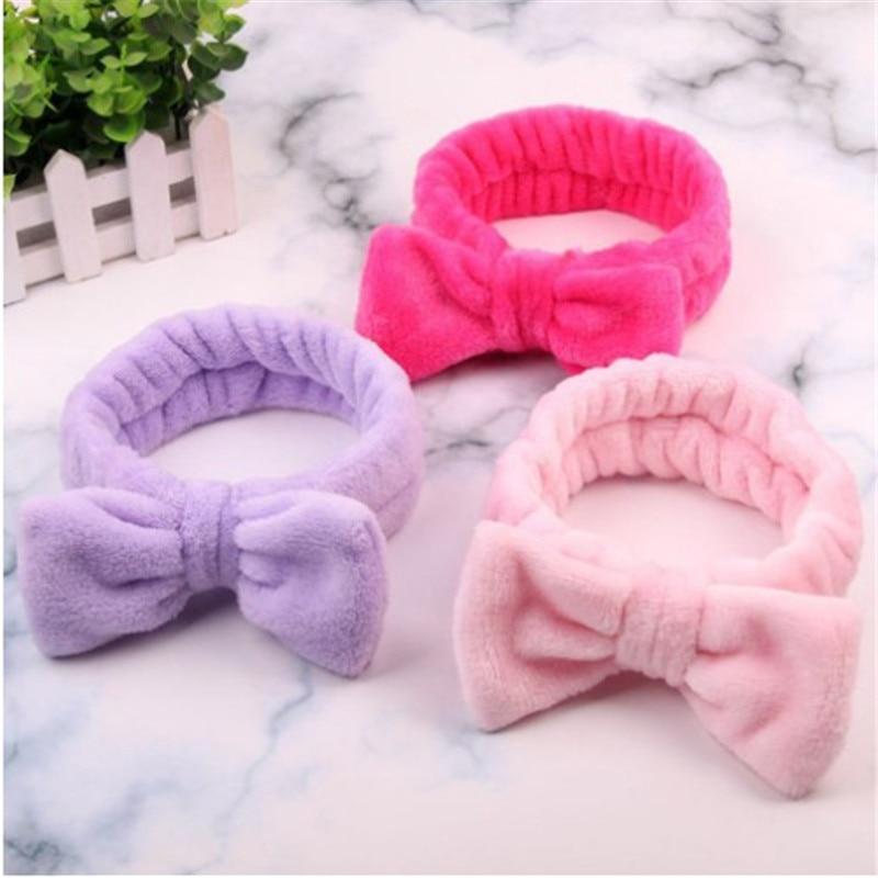Women Makeup Coral Fleece Headband Wash Face Soft Hair Holder Elastic Top Knot Hairbands Girl Headwear Hair Accessories(China)