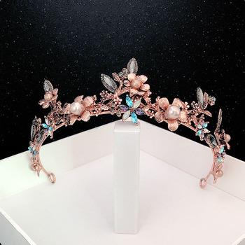 FORSEVEN kobiety Vintage z pałąkiem na głowę kolorowe barokowe Retro Rhinestone korona kwiat perła tiary ślub panny młodej biżuteria do włosów LB tanie i dobre opinie Ze stopu cynku Metal Tiaras Archiwalne 49296 PLANT