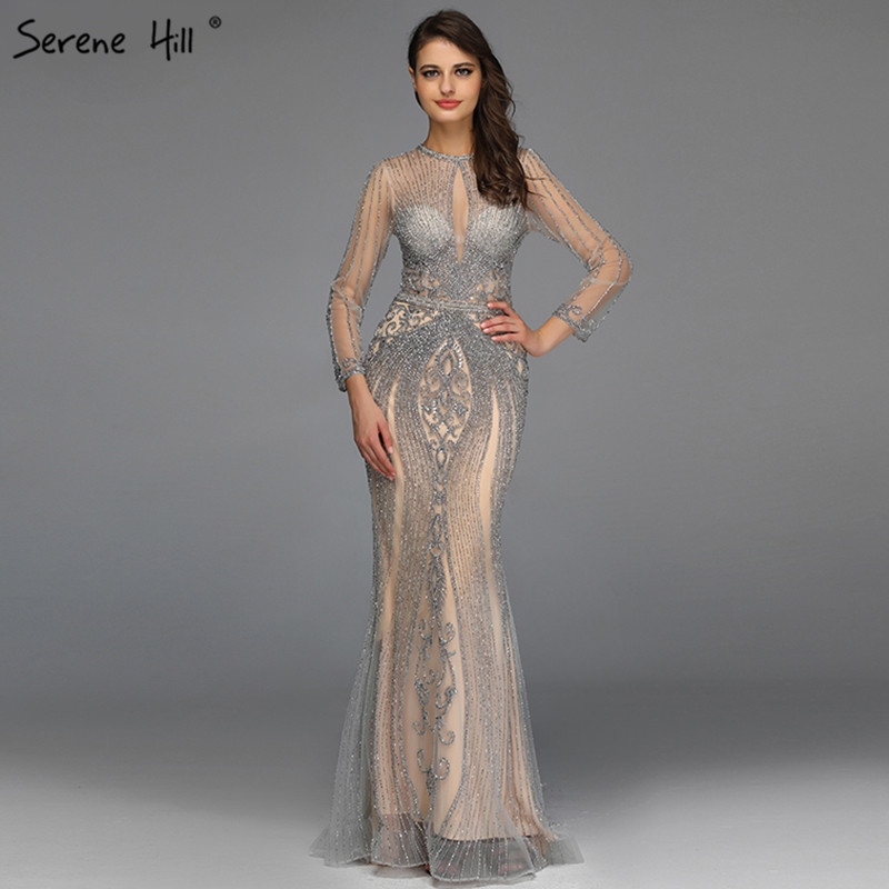 Dubai Long Sleeves Grey Luxury   Evening     Dresses   O-Neck Full Diamond Mermaid   Evening   Gowns 2019 Serene Hill Plus Size LA70116