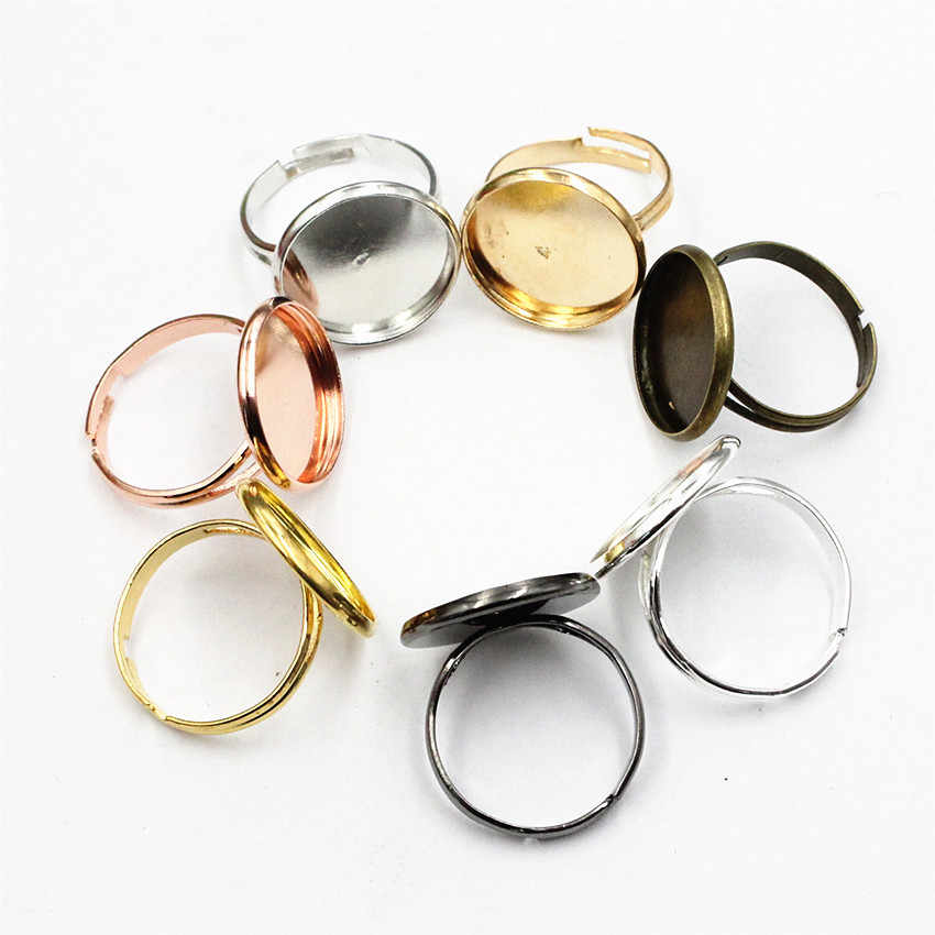 10pcs Adjustable Round Ring Blanks Ring Setting Base trays with 10mm  12mm 14mm  16mm  18mm  20mm Round ring blanks Suppliers