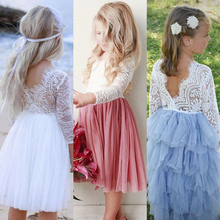 Summer Kids Dresses For Girls Lace Sleeveless Backless Back V Tulle Party Princess Formal Dress Bridesmaid Pageant Dresses new gold sequins flower girls dresses for weddings backless pageant dress floor length princess kids formal wear