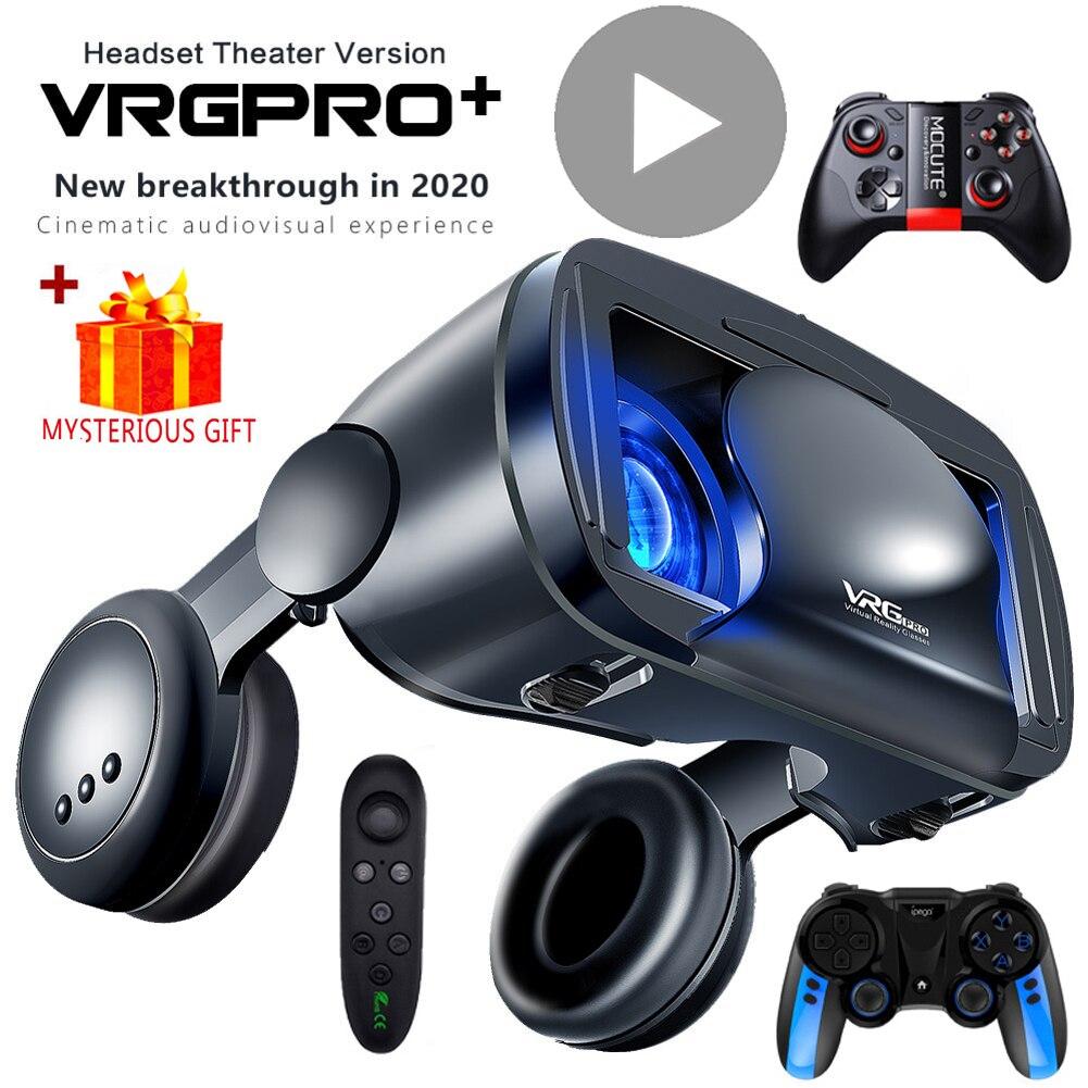 3d vr fone de ouvido inteligente óculos de realidade virtual capacete para smartphones telefone lentes com controladores fones 7 polegadas binóculos|Óculos 3D/realidade virtual|   -