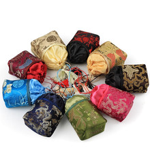 7*5*13CM Silk Brocade Jewelry Pouch Bag Drawstring Coin Purse Flower Embroidery Tassel Decor Gifts Bags Pouches