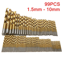 99 pieces HSS high speed steel titanium coated drill coated stainless steel drill set power tool accessories цена