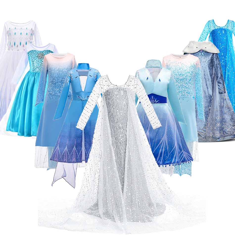 3 5 6 8 10 Years Girls Snow Queen 2 Elsa Dress Kids Carnival White Princess Costume Children Birthday Party Frocks Clothes Wig